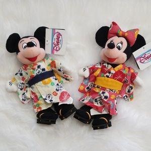 Disney Vintage Japanese Mickey & Minnie Plush Set